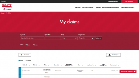 Claims dashboard